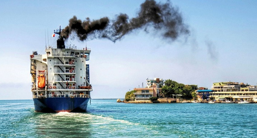 Ship polluting the atmosphere with air emissions